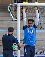 Loan Goalkeeper Jamal Blackman of Wycombe Wanderers during warm up during the Sky Bet League 2 match between Wycombe Wanderers and Accrington Stanley at Adams Park, High Wycombe, England on 16 August 2016. Photo by Andy Rowland.