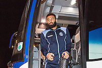 Alex Jakubiak of Wycombe Wanderers arrives ahead of the Sky Bet League 2 match between Colchester United and Wycombe Wanderers at the Weston Homes Community Stadium, Colchester, England on 21 February 2017. Photo by Andy Rowland / PRiME Media Images.