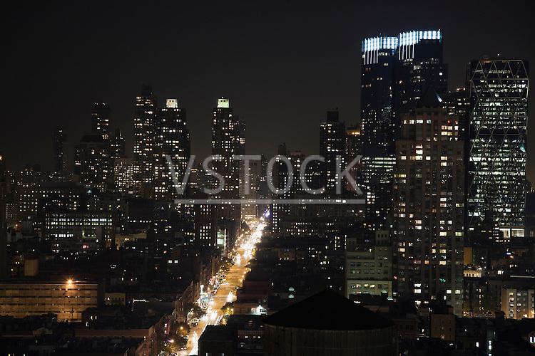 USA, New York State, New York City, Manhattan illuminated at night