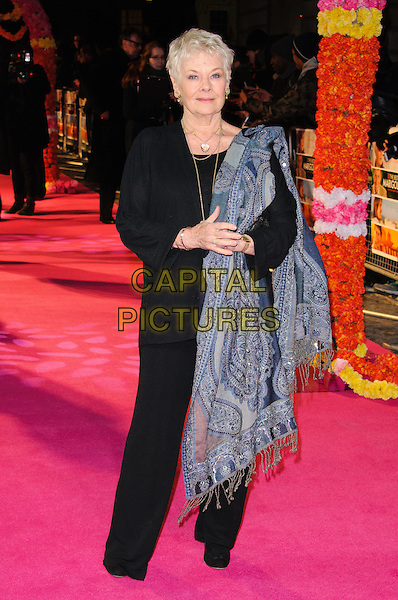 Dame Judi Dench.Arrivals at the'The Best Exotic Marigold Hotel' world premiere held at the Curzon Mayfair, London, England..February 7th, 2012.full length top trousers scarf pashmina black blue grey gray  wrap.CAP/CJ.©Chris Joseph/Capital Pictures.