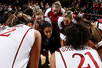 STANFORD, CA - DECEMBER 13:  Melanie Murphy of the Stanford Cardinal during Stanford's 96-60 win over DePaul on December 13, 2009 at Maples Pavilion in Stanford, California. Also in the huddle are Lindy LaRocque, Mikaela Ruef, Joslyn Tinkle and the team.