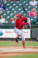 Memphis Redbirds second baseman Greg Garcia (5) at bat during the second game of a Pacific Coast League doubleheader against the Round Rock Express on August 3, 2014 at the Dell Diamond in Round Rock, Texas. The Redbirds defeated the Express 7-6. (Andrew Woolley/Four Seam Images)