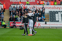 SWANSEA, WALES - APRIL 04: Kyle Naughton of Swansea City  gets carried off during the Premier League match between Swansea City and Hull City at Liberty Stadium on April 04, 2015 in Swansea, Wales.  (photo by Athena Pictures)