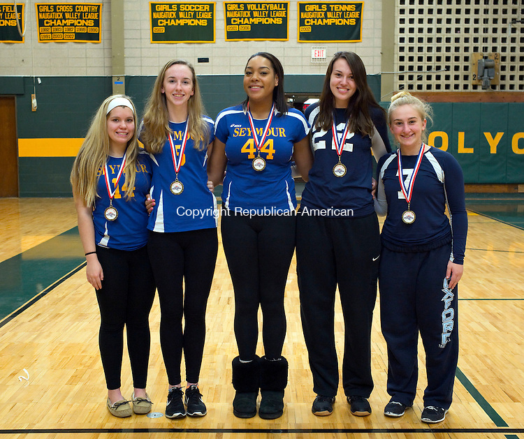 Waterbury, CT- 24 November 2015-112415CM01-  ALL Copper from left to right:  Seymour's Alexa Frye, Jilian Murphy, Faith Thurmond; Oxford's Cameron Ryan and Zoe Olbrys.  Missing from photo: Ansonia's Emily Rye and Oxford's Jess Zajkowski.   Christopher Massa Republican-American