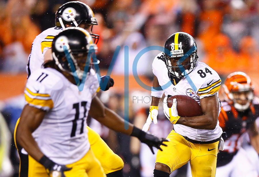 Antonio Brown #84 of the Pittsburgh Steelers runs with the ball after catching a pass against the Cincinnati Bengals during the Wild Card playoff game at Paul Brown Stadium on January 9, 2016 in Cincinnati, Ohio. (Photo by Jared Wickerham/DKPittsburghSports)