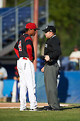Batavia Muckdogs manager Angel Espada (4) during a game against the West Virginia Black Bears on August 21, 2016 at Dwyer Stadium in Batavia, New York.  West Virginia defeated Batavia 6-5. (Mike Janes/Four Seam Images)