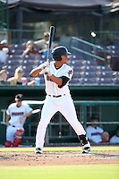 Michael Hermosillo (2) of the Inland Empire 66ers bats against the Lake Elsinore Storm at San Manuel Stadium on July 31, 2016 in San Bernardino, California. Inland Empire defeated Lake Elsinore, 8-7. (Larry Goren/Four Seam Images)