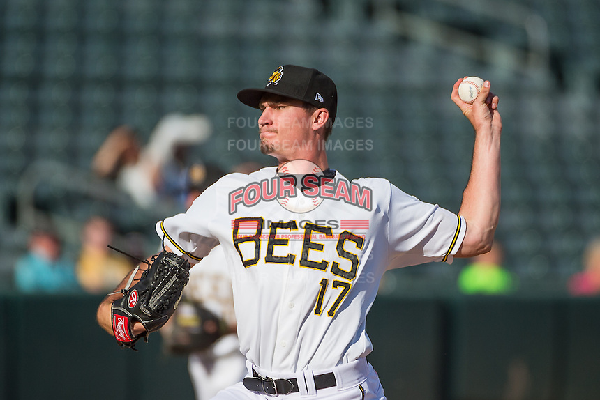 Salt Lake Bees starting pitcher Andrew Heaney (17) delivers a pitch to the plate against the Albuquerque Isotopes in Pacific Coast League action at Smith's Ballpark on June 8, 2015 in Salt Lake City, Utah.  The Bees defeated the Isotopes 10-7 in game one of a double-header. (Stephen Smith/Four Seam Images)