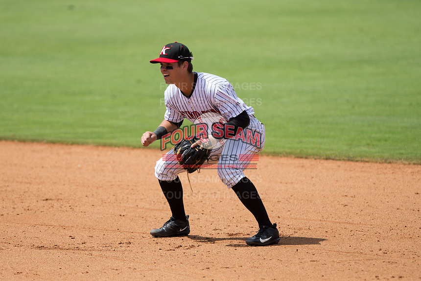 Kannapolis Intimidators second baseman Mitch Roman (10) on defense against the West Virginia Power at Kannapolis Intimidators Stadium on June 18, 2017 in Kannapolis, North Carolina.  The Intimidators defeated the Power 5-3 to win the South Atlantic League Northern Division first half title.  It is the first trip to the playoffs for the Intimidators since 2009.  (Brian Westerholt/Four Seam Images)