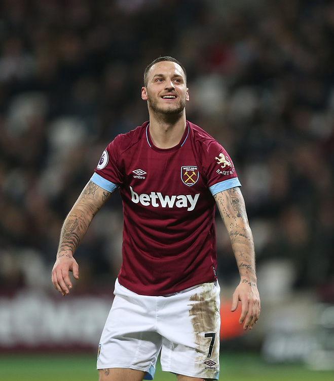 West Ham United's Marko Arnautovic<br /> <br /> Photographer Rob Newell/CameraSport<br /> <br /> The Premier League - West Ham United v Brighton and Hove Albion - Wednesday 2nd January 2019 - London Stadium - London<br /> <br /> World Copyright © 2019 CameraSport. All rights reserved. 43 Linden Ave. Countesthorpe. Leicester. England. LE8 5PG - Tel: +44 (0) 116 277 4147 - admin@camerasport.com - www.camerasport.com