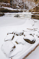 Giant's Bathtub in Matthiessen State Park, takes on a clean pristine look after a fresh snow fall. LaSalle County, Illinois