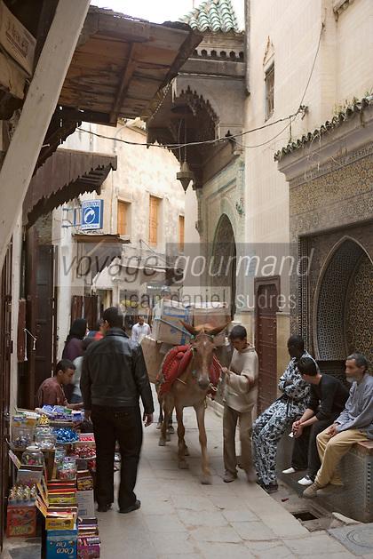 Afrique/Afrique du Nord/Maroc/Fèz: Médina de Fèz-El-Bali dans une ruelle du souk transport de marchandise à dos de mulet