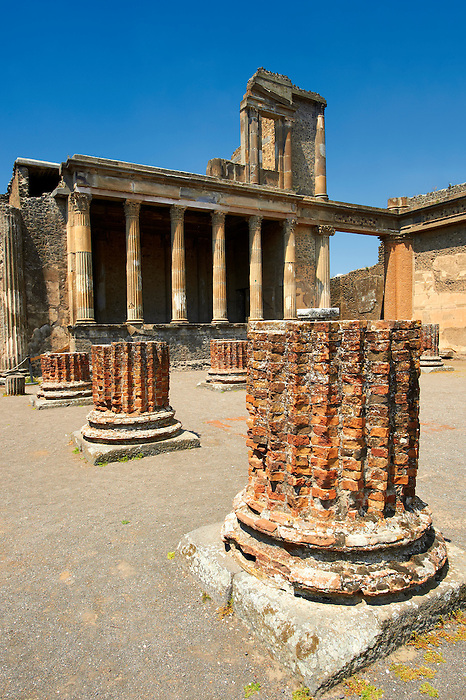 The columns of the 2nd cent. B.C Roman Basilica of Pompeii which was the Roman courts of justice and the core of economic life in Pompeii.