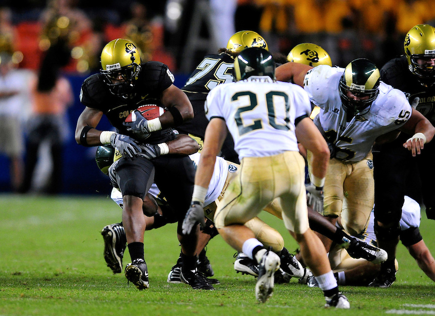 31 Aug 2008: Colorado tailback Demetrius Sumler (8) carries the ball against Colorado State. The Colorado Buffaloes defeated the Colorado State Rams 38-17 at Invesco Field at Mile High in Denver, Colorado. FOR EDITORIAL USE ONLY