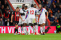 Patrick van Aanholt of Crystal Palace is mobbed after scoring to make the score 1-1 during AFC Bournemouth vs Crystal Palace, Premier League Football at the Vitality Stadium on 1st October 2018