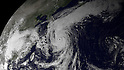 Currently around 180 miles south of the Japanese mainland, Typhoon Roke is moving north-northeast with maximum sustained winds of around 110 mph. In preparation for an expected landfall just west of Tokyo on September 21st at 0600z, evacuations have begun in many coastal and low-lying areas. This image was taken by the Japan Meteorological Agency's MTSAT weather satellite on September 20, 2011 at 0530z. (Photo by National Oceanic and Atmospheric Administration/AFLO)