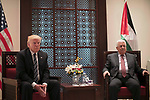 Palestinian President Mahmoud Abbas meeta with U.S. President Donald Trump at the presidential headquarters in the West Bank town of Bethlehem, May 23, 2017. APAIMAGES/Fadi Arouri/Pool