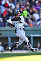 South Carolina Gamecocks left fielder Carlos Cortes (8) swings at a pitch during a game against the Clemson Tigers at Fluor Field on March 3, 2018 in Greenville, South Carolina. The Tigers defeated the Gamecocks 5-1. (Tony Farlow/Four Seam Images)