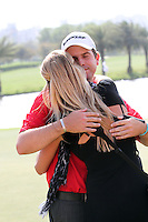 Thomas Aiken (RSA) with his wife Kate as he wins on Day 4 of the 2013 Avantha Masters, Jaypee Greens Golf Club, Greater Noida, Delhi, 17/3/13..(Photo Jenny Matthews/www.golffile.ie)