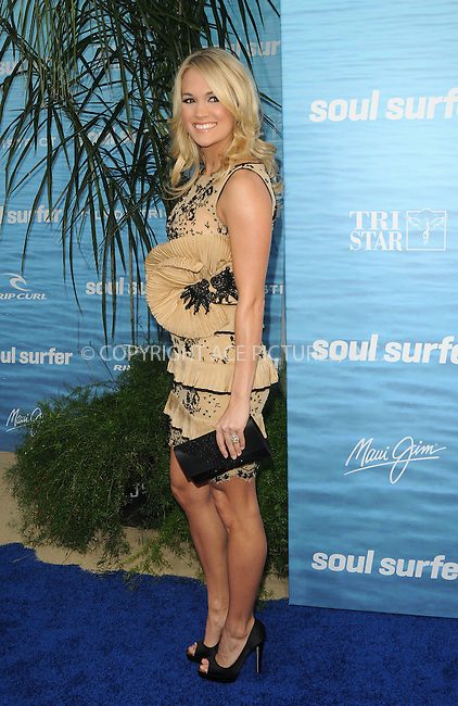 WWW.ACEPIXS.COM . . . . . ....March 30 2011, Los Angeles....Actress and singer Carrie Underwood arriving at the premiere of TriStar Pictures' 'Soul Surfer' at the ArcLight Cinerama Dome on March 30, 2011 in Hollywood, California.....Please byline: PETER WEST - ACEPIXS.COM....Ace Pictures, Inc:  ..(212) 243-8787 or (646) 679 0430..e-mail: picturedesk@acepixs.com..web: http://www.acepixs.com