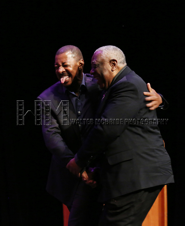 Robert Townsend and Woodie King Jr. performs at Woodie King Jr.'s New Federal Theatre 44th Anniversary Gala honoring Voza Rivers at BMCC Tribeca Performing Arts Center on March 16, 2014 in New York City.
