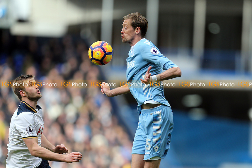 Peter Crouch of Stoke City and Eric Dier of Tottenham Hotspur during Tottenham Hotspur vs Stoke City, Premier League Football at White Hart Lane on 26th February 2017