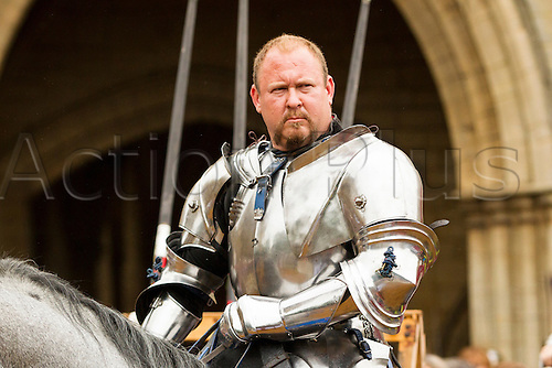 20.06.2015.  Peterborough, England. Peterborough Joust of St Peter.  A knight waits for his joust.  The joust took place at Peterborough Cathedral and was the first full medieval joust in a city for 500 years. The joust was part of the Peterborough Heritage Festival 2015.