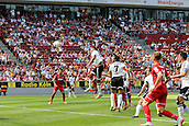 02.08.2015. Cologne, Germany. Pre Season Tournament. Colonia Cup. FC Cologne versus Valencia CF. Kevin Vogt heads home Cologne's second through a crowded box.