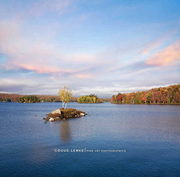 Morning Light Over Tupper Lake During Autumn In The Adirondack Mountains, New York, USA