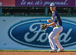 1 September 2014: Vermont Lake Monsters infielder Trent Gilbert in action against the Tri-City ValleyCats at Centennial Field in Burlington, Vermont. The ValleyCats defeated the Lake Monsters 3-2 in NY Penn League play. Mandatory Credit: Ed Wolfstein Photo *** RAW Image File Available ****