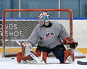 Mike Lee (USA - 30) - Team USA practiced at the Agriplace rink on Monday, December 28, 2009, in Saskatoon, Saskatchewan, during the 2010 World Juniors tournament.