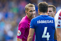 Chelsea's Cesc Fabregas protests to Referee Craig Pawson after being shown a red card<br /> <br /> Photographer Craig Mercer/CameraSport<br /> <br /> The Premier League - Chelsea v Burnley - Saturday August 12th 2017 - Stamford Bridge - London<br /> <br /> World Copyright &copy; 2017 CameraSport. All rights reserved. 43 Linden Ave. Countesthorpe. Leicester. England. LE8 5PG - Tel: +44 (0) 116 277 4147 - admin@camerasport.com - www.camerasport.com