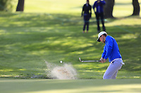 Lucas Bjerregaard (DEN) chips from a bunker at the 1st green during Thursday's Round 1 of the 2017 Omega European Masters held at Golf Club Crans-Sur-Sierre, Crans Montana, Switzerland. 7th September 2017.<br /> Picture: Eoin Clarke | Golffile<br /> <br /> <br /> All photos usage must carry mandatory copyright credit (&copy; Golffile | Eoin Clarke)
