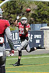 Drew Loftus hauls in a touchdown pass during the annual Washington State Cougar spring game, the Crimson and Gray game, at Joe Albi Stadium in Spokane, Washington, on April 26, 2014.