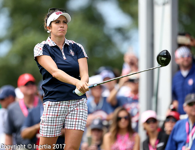 DES MOINES, IA - AUGUST 20: USA's Gerina Piller watches her tee shot on the first hole during her singles match Sunday morning at the 2017 Solheim Cup in Des Moines, IA. (Photo by Dave Eggen/Inertia)