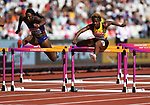 Nia ALI (USA, left) and Megan SIMMONDS (JAM) clear the last hurdle in the womens 100m hurdles heats. IAAF world athletics championships. London Olympic stadium. Queen Elizabeth Olympic park. Stratford. London. UK. 11/08/2017. ~ MANDATORY CREDIT Garry Bowden/SIPPA - NO UNAUTHORISED USE - +44 7837 394578
