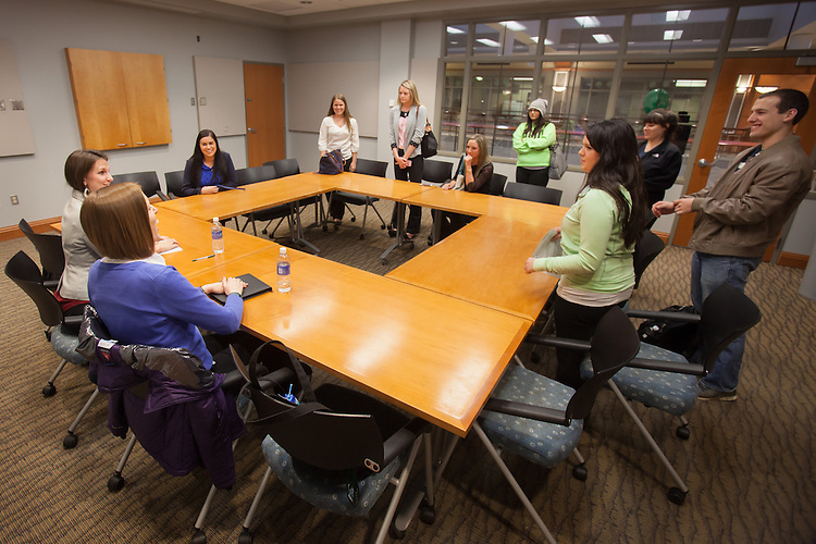 Students attend a breakout session of the Ohio Women in Business that brought together Alumni and students to discuss their experience at Ohio University and how it translates to the workplace.  Photo by Ohio University / Jonathan Adams