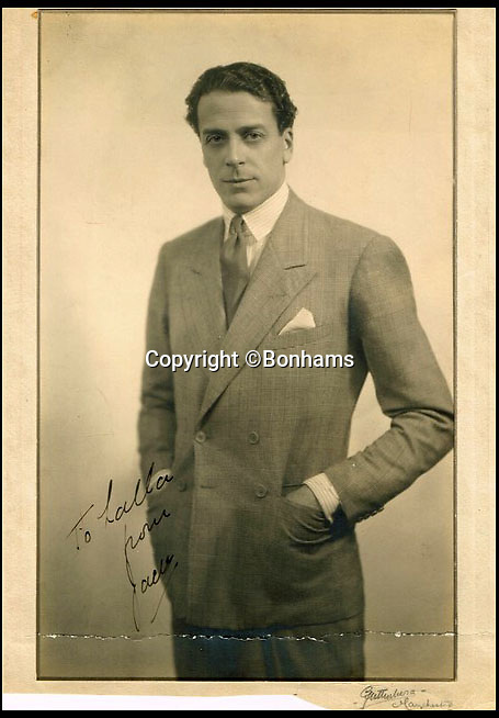 BNPS.co.uk (01202 558833)Pic: Bonhams/BNPS<br /> <br /> Lalla had an affair with screen hearthrob Jack Buchanan - this signed picture was given to Lalla by Jack.<br /> <br /> A portrait of the glamorous and racy aunt of Dame Joan Collins who inspired her to get into acting has been put up for sale by the star.<br /> <br /> Lalla Collins was a well-known actress herself in the 1920s and '30s, and Dame Joan says she was a great influence on her own career.<br /> <br /> The 84-year-old actress and author, best known for playing Alexis Carrington Colby on Dynasty in the 1980s, is now selling a 1940s oil painting of her glamorous aunt, which is expected to fetch £1,200.<br /> <br /> The oil painting, which measures just under 30in by 25in, was painted in 1948.<br /> <br /> Dame Joan has had the painting for a number of years but has now decided to sell it through Bonhams in London.