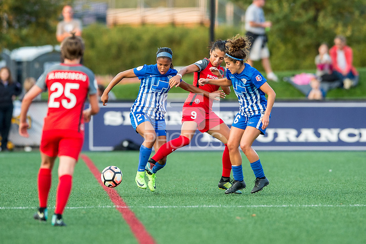Boston, MA - Sunday September 10, 2017: Margaret Purce, Nadia Nadim and Angela Salem during a regular season National Women's Soccer League (NWSL) match between the Boston Breakers and Portland Thorns FC at Jordan Field.