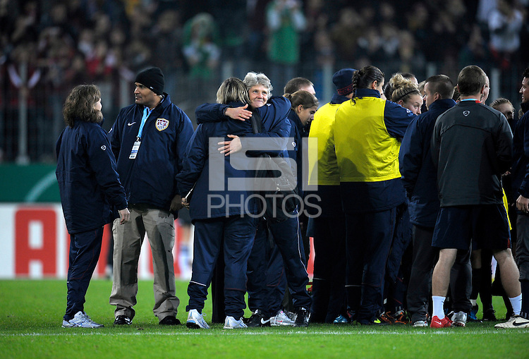 US Women's Head Coach Pia Sundhage. US Women's National Team defeated Germany 1-0 at Impuls Arena in Augsburg, Germany on October 27, 2009.