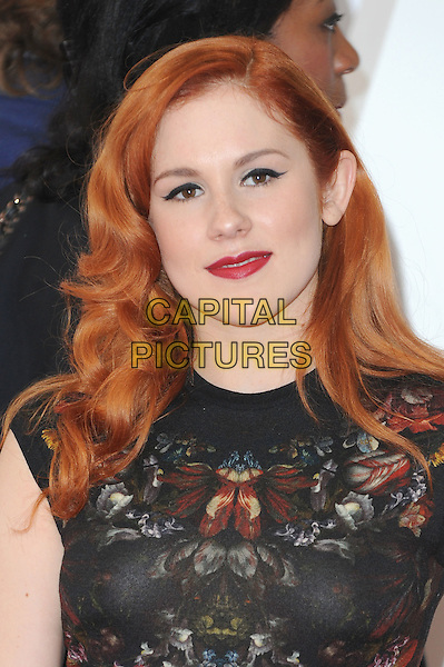 Katy B ( Kathleen Anne Brien ).The UK Creative Industries Reception supported by The Founders Forum, at the Royal Academy of Arts, London, as part of HM Government's GREAT campaign alongside the very best of the UK Creative Industries from the fields of music, film, art and entertainment..30th July 2012 .headshot portrait black floral print red lipstick .CAP/BEL.©Tom Belcher/Capital Pictures.