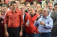ATENCAO EDITOR IMAGEM EMBARGADA PARA VEICULOS INTERNACIONAIS - SAO PAULO, SP, 20 OUTUBRO 2012 - ELEICOES 2012 - FERNANDO HADDAD - O senador Eduardo Suplicy durante comício do candidato Fernando Hadddad com presenca presidente da Republica Dilma Rousseff e o ex presidente Luiz Inacio Lula da Silva no Ginasio do Caninde na regiao norte da capital paulista, neste sábado, 20. (FOTO: ALEXANDRE MOREIRA / BRAZIL PHOTO PRESS).
