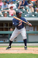 Mycal Jones (5) of the Gwinnett Braves squares to bunt against the Charlotte Knights at BB&T BallPark on July 3, 2015 in Charlotte, North Carolina.  The Braves defeated the Knights 11-4 in game one of a day-night double header.  (Brian Westerholt/Four Seam Images)