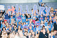 "Campaign volunteers hold up large letters spelling ""Hillary"" as former president Bill Clinton enters the room before former Secretary of State and Democratic presidential candidate Hillary Rodham Clinton speaks at a rally at Nashua Community College in Nashua, New Hampshire, on Tues. Feb. 2, 2016. Former president Bill Clinton also spoke at the event. The day before, Hillary Clinton won the Iowa caucus by a small margin over Bernie Sanders."