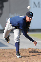 The Mobile BayBears pitcher Trevor Bauer #19 warms up in the bull pen before game four of the Southern League Championship Series between the Mobile Bay Bears and the Tennessee Smokies at Smokies Park on September 18, 2011 in Kodak, Tennessee.  The BayBears won the Southern League Championship 6-4.  (Tony Farlow/Four Seam Images)