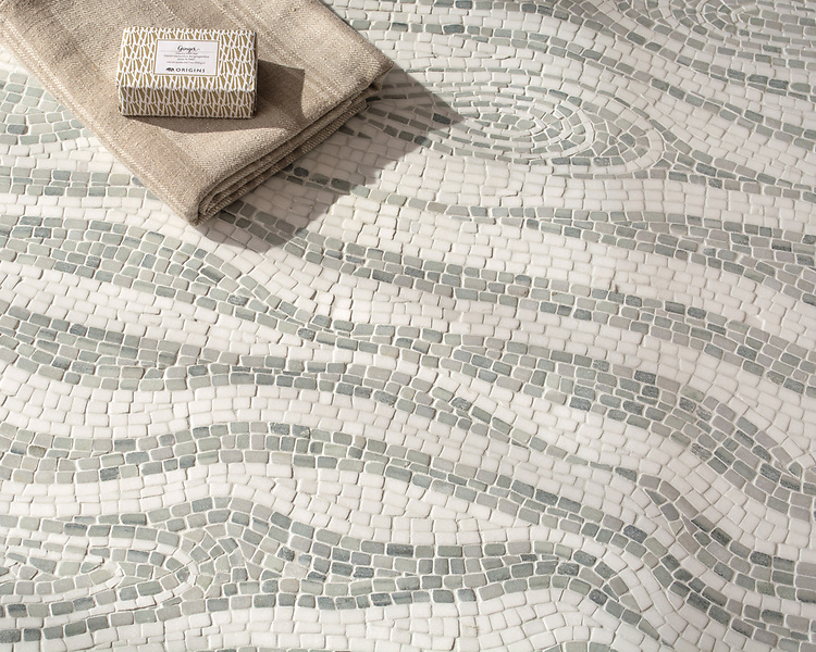 Maji, a hand-chopped stone mosaic, shown in tumbled Thassos and Kay's Green. Designed by Joni Vanderslice as part of the J. Banks Collection for New Ravenna.