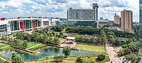 This is another pano of the Houston Discovery Green Park from this birds eye  vantage point which let us create this great pano overview of this area. The Discovery Green park is 12 acreas right in the heart of downtown Houston across from the convention center, Toyota Center and Minute Maid Park a few blocks away. There are also plenty of places to stay in the area with the the Hilton Americas and the new Marriott Marque to name just a few right across from the park. We loved that from this vantage point you could also see the George Brown Convention Center the high rise hotels and condos in the area along with the Kinder Lake and the childrens spray area for cooling down along with other areas of the park. Along with the George Brown Convention Center they recently added Avenida Plaza and the Wing Over Water water sculptuer so you can spend a day just in this area of downtown Houston. There is parking garage under the park along with many other places to park and you can spend a day on Kinder lake kayaking or enjoy many movies, and music event at the Discovery Green free events while your here. The convention center new Aveida also is a new place to come and listen to music. While we were there people were dancing on the Aveida plaza to the latin beat of a Brazilian group next to the new water feature Wing Over Water right on this new area. There is plenty to do, see and eat in the area so you don't have to go far. The Discovery Green park in downtown host over 600 free events for all ages every year you can beat that.