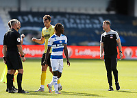 18th July 2020; The Kiyan Prince Foundation Stadium, London, England; English Championship Football, Queen Park Rangers versus Millwall; A very angry Millwall Manager Gary Rowett arguing with Referee James Linington after he ruled Shaun Hutchinson of Millwall goal to be disallowed just before full time