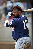 San Antonio Missions outfielder Yeison Asencio (14) during a game against the NW Arkansas Naturals on May 30, 2015 at Arvest Ballpark in Springdale, Arkansas.  San Antonio defeated NW Arkansas 5-2.  (Mike Janes/Four Seam Images)