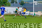 Knocknagoshels John Bell makes no mistake as he slots one past the Annascaul keeper Tommy Pierce to raise the green flag in the Kerry Junior Club Championship round 1 game on Sunday.